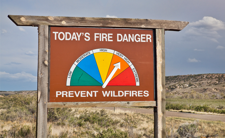 Sign demonstrating the threat of wildfire